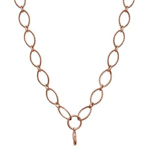 """Picture of Rose Gold Textured Oval Link Chain - 32"""""""